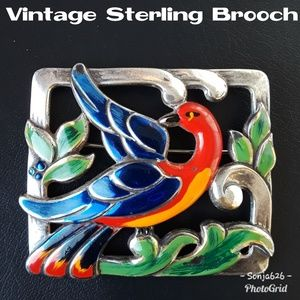 Gorgeous Vintage Sterling Painted Bird Brooch